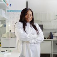 Damilola Omotosho in a lab