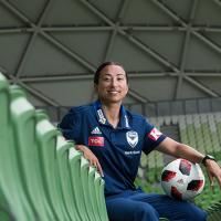 Gulcan Koca in soccer clothes with a soccer ball at AAMI Park